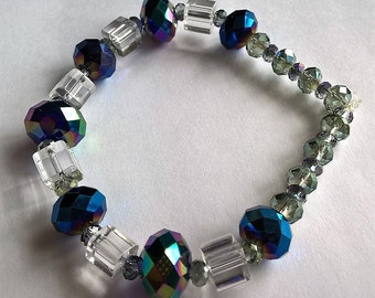 """7"""" Stretchy Bracelet: AB Rainbow Purple, Light Green, and Purple & Clear Crystal Beads- Valentines Day, Weddings, Special Occassions"""