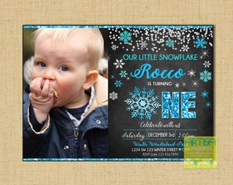 First Birthday invitation, Little Snowflake Birthday Invitation, Winter Birthday invitation, Snowflake 1st Birthday Boy Invite, Winter 1 Boy