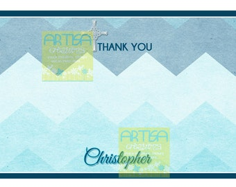 First Communion Thank you card, Chevron and cross thank you card, Ombre chevron thank you card, Ombre Chevron note card DIY