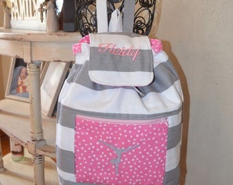 Handmade personalized gymnast backpack (made with gray and white stripes and accents pink polka dots)