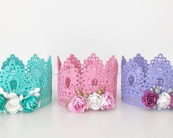 Lace Crown, Pastel Crown, Princess Crown, Crown Shelfie, Lace Crown Trio