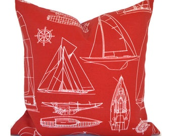 Outdoor Pillows ANY SIZE Outdoor Cushions Outdoor Pillow Covers Decorative Pillows Outdoor Cushion Covers Euro Pillow Sailing Red