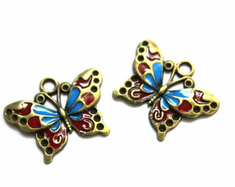5 Gold, Red and Blue Enamel Butterfly Charms/Pendants