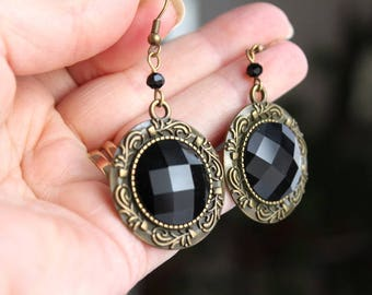 Antique Brass Earrings with Black Shiny Checker Board Cabochon and Small Faceted Black Bead
