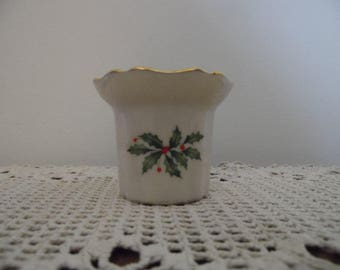 Lenox Votive Candle Holder with Holly Print decorated with 24-k gold Made in USA