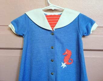 Vintage 60s 70s nautical seahorse dress-baby toddler vintage / baby girl vintage dress size 18M