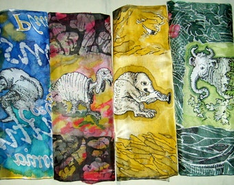 Silk Original batik handpainting handkerchief  Little Monsters.