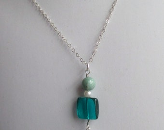 Venetian glass, aventurine and freshwater pearl pendant and earring set