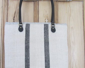 Vintage Grain Sack Tote Bag