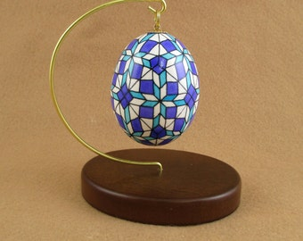 Pysanky Pisanki Ukrainian Polish Easter Egg Purple Blue Quilt Geometric Hand Decorated Chicken Egg