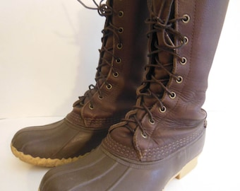 """L.L.Bean Men's Sz. 7M Maine Hunting Shoe Boots 12"""" Tall Leather & Rubber Made In Freeport Maine duck boots rubber snow boots"""