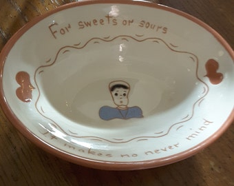 Vintage RUTH PRICE Amish mottoware candy dish