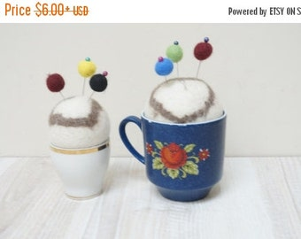 ON SALE Felted pin cushion in cup blue floral orange white Vintage wool ball natural beige eco cappuccino coffee latte heart egg lot bulk