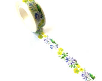 Washi Tape Blue / Yellow Flowers