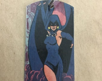 Raven Teen Titans upcycled comic book dog tag, includes necklace or key ring. Raven dog tag. Raven keychain.