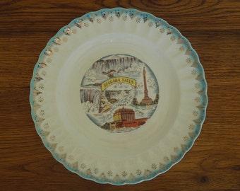 Vintage Niagara Falls Souvenir Plate Transferware 22k Gold Rim
