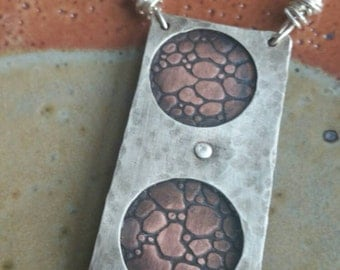 """Oxidized Sterling Silver and Textured Copper Riveted Pendant on 18"""" Sterling Silver Chain"""