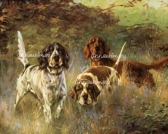 "Dog Art Print ""Mighty  Hunters""   Restored Antique Art  #527"