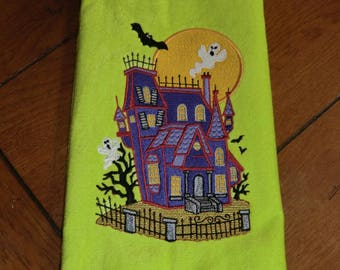 Embroidered Velour Hand Towel - Halloween - Haunted House - Lime Green Towel