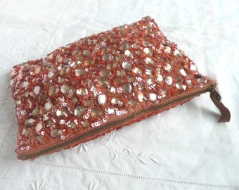 Vintage sequin purse - pink sequin bead purse - vintage party accessory - 1970s sequin purse - made in India sequin and bead purse