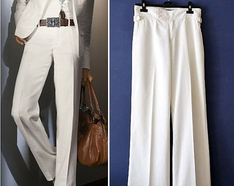 Winter Sale Vintage Ralph Lauren White Pants,Made in Italy White Pants,Cotton wide leg style Pants,Women's Small Size Pants