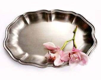 SALE Vintage Italian Pewter Dish, Vintage Ornate Serving Tray, Pewter Serving Platter ,Italian Oval Pewter Dish