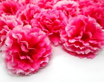 """2"""" Hawaiian Carnation Heads (Pack of 24) - Hot Pink - Artificial Flower, Silk Flower Heads"""