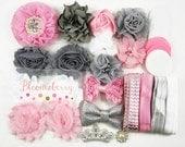 DIY 35 pcs Flower Headband Kit - Pink/White/Gray - Flower Headband Kit- Baby Shower/Holidays/Birthday/Party Favor/Craft Supplies Kit