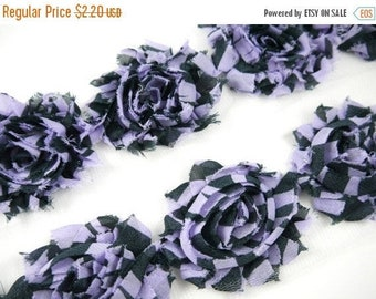 """Closed Out Sale 40% OFF Special Sale 30 Percent Off 2.5"""" Shabby Rose Trim - Print - Purple Zebra - Halloween/Fall- Halloween Flowers - Hair"""