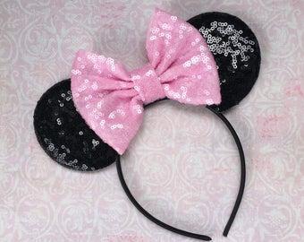 Minnie Mouse Ears, Mouse Ears Headband, Disney Headband, Minnie Mouse Bow, Disney Vacation Headband, Disney Hair Bow,  1st Birthday Headband