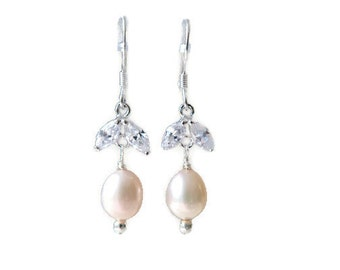 Sterling Silver Crystal and Pearl earrings