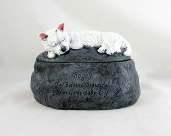 Ceramic Engraved Westie Custom Breed Painted Cremation Urn - hand made pet urn
