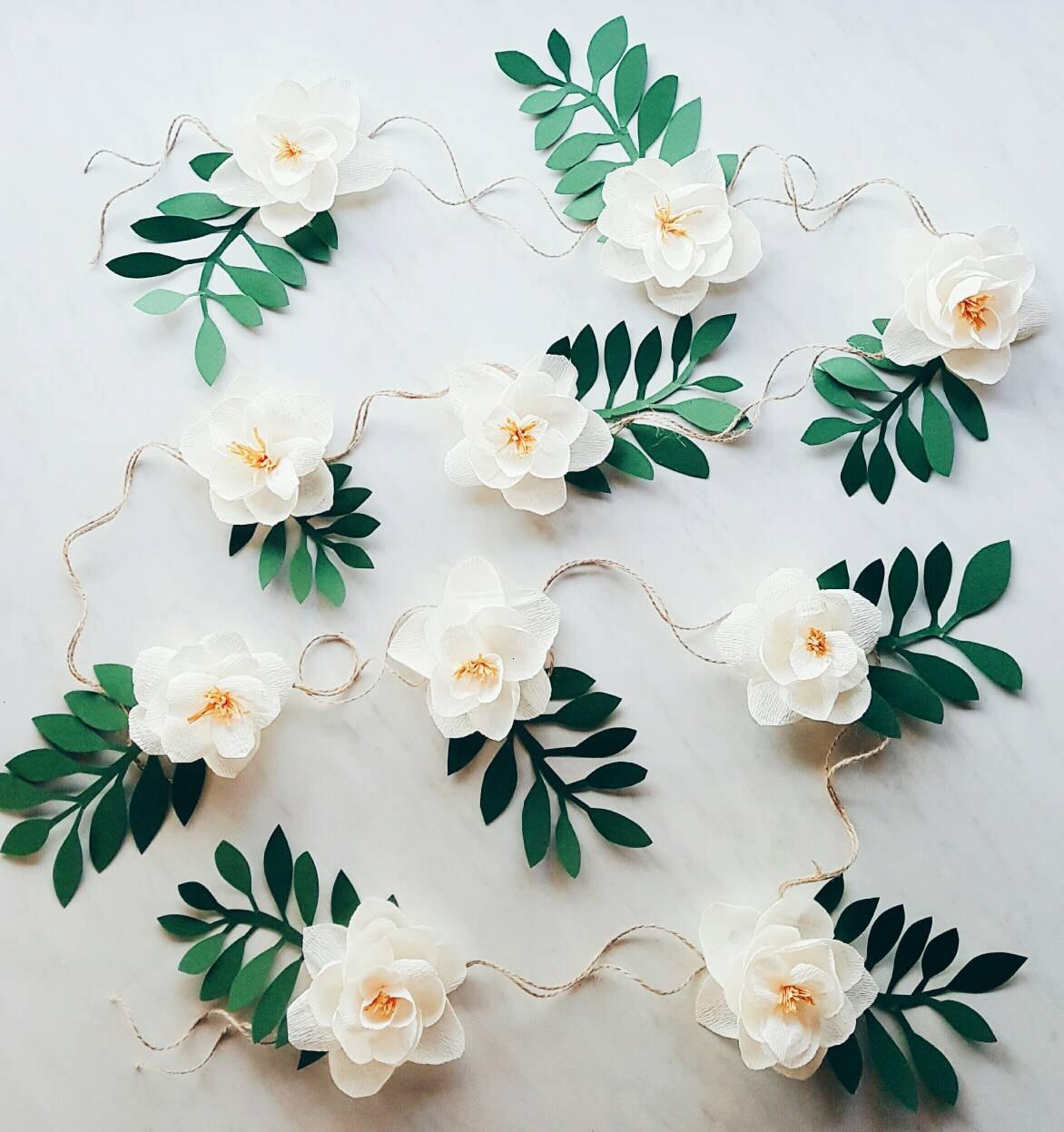 Flower Garland: Paper Flower Garland. Teepee Flowers. Crepe Paper Magnolias