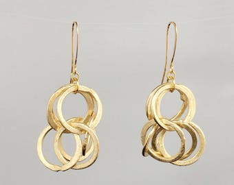 Hola Fancy Brushed Gold Chain earrings