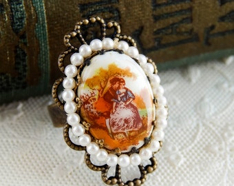 Repurposed vintage cameo ring / upcycled ring / 18th century / cameo ring / upcycled cameo / repurposed ring / georgian era / statement ring