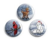Winter Animals Pinback Buttons, Artic Fox, Cardinal, Reindeer Pins