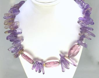 ARTISAN Handcrafted AMETHYST and Ametrine NECKLACE - Faceted Crystal Focal Beads -  Gold Filled Toggle Clasp
