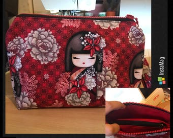 Red Kimmidoll 3 compartments wristlet / pouch