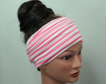 PINK and WHITE Head Scarf - Stripe Hair wrap - Yoga headband - Extra Wide Jersey Headband - Womens Bohemian Hair Accessories - Boho
