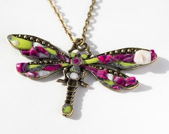 Dragonfly Charm Pendant Fuchsia Purple Crystal Wings Necklace Handmade