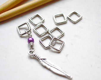 Feathered / Knitting Stitch Markers / Snag Free Knitting Stitch Markers / Wire Charmed Stitch Markers