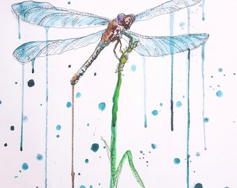 """Original watercolour painting """"Dragonfly"""""""
