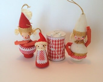 Vintage Mr. Christmas Ornaments 1969 Made in Japan, Paper Mache Ornaments, Doll Ornaments, Lot of 4 Collectible