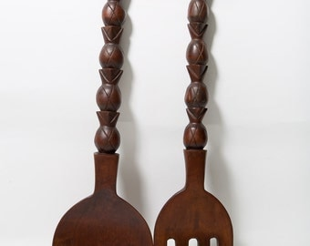 Large Fork and Spoon Wood Wall Decor Pineapple Motif 1970s Wall Hangings Oversize