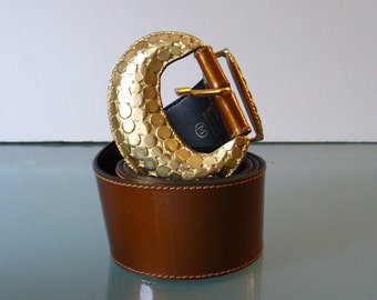 Made in Italy Caramel Patent Leather Belt Size M