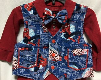 Spider Hero Vest and tie or bow tie set for a wedding or formal event