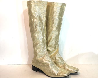 1960s gold lurex go go boots - size 7.5 - 1960s gold gogo boots - 1960s mod boots - metallic stretch lurex gold boots - 60s boots
