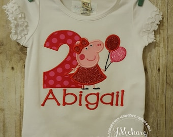 Peppa Pig Birthday Custom Tee Shirt - Customizable -  Infant to Youth 315a