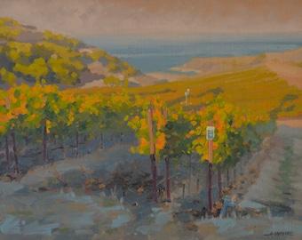 Rusack Vineyard - Catalina - Island - California - Plein Air - Oil Painting - Wine - El Rancho Escondido - Santa Catalina - Vines - Grapes