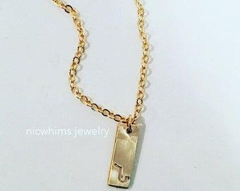 Vertical Bar Necklace, Armenian Bar Necklace, Initial Necklace, Armenian Initial Necklace, Armenian Letter Necklace, Gold Bar Necklace